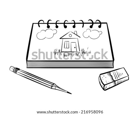 sketchbook with pencil and eraser - stock vector