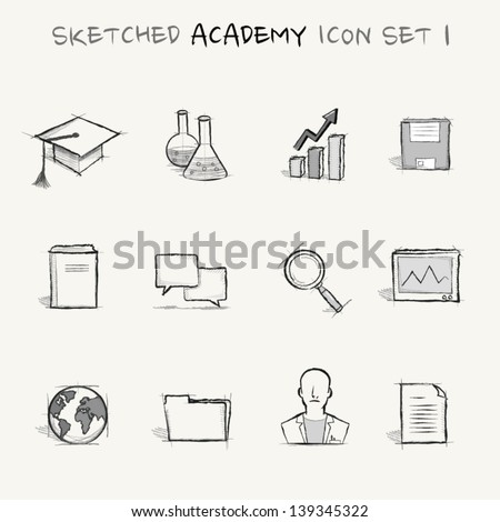 Sketched academy icon set 1 - stock vector