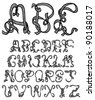 Sketched and hand drawn font - stock vector