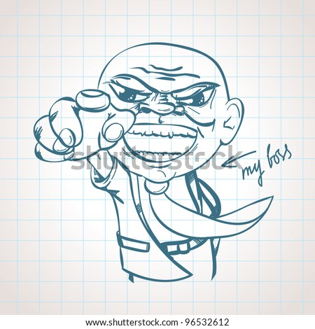 Sketched Angry Boss - stock vector