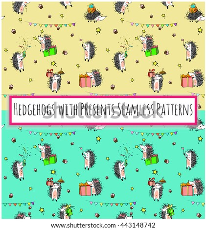 sketched birthday vintage seamless patterns with cute cartoon hedgehogs holding cakes and presents on yellow and green backgrounds.  Hand drawn Vector illustration - stock vector