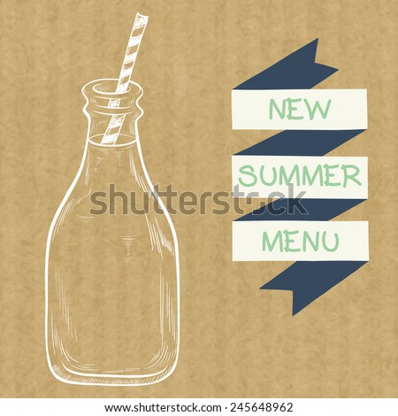 Sketched bottle of milk with a striped straw and ribbon banner, isolated on brown kraft paper background. - stock vector