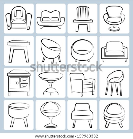 sketched chair icons set, interior design icons, pencil line concept - stock vector