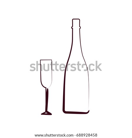 Sketched Champagne Bottle Glass Isolated On Stock Vector 688928458 ...