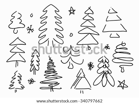 Sketched Christmas Trees - stock vector