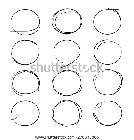 sketched circles, highlighting elements - stock vector