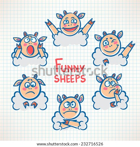 Sketched cute sheep with different emotions faces - stock vector