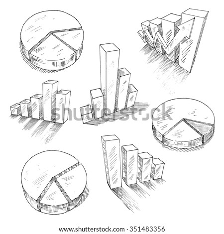 Sketched 3d charts and graphs with different bar graphs and pie charts, with shadows or reflections. For business, management and development concept design usage. Sketch style - stock vector