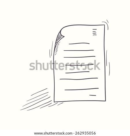 Sketched document desktop icon. Doodle design element - stock vector