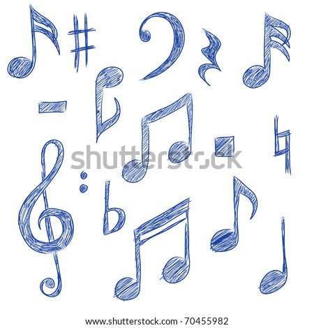 Sketched drawings of musical symbols (vector) - stock vector