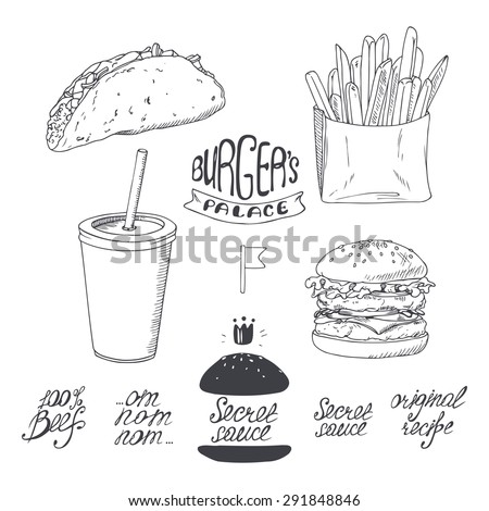 Sketched fast food set in black and white. Hand drawn vector illustration for restaurants, cafe, diner menu design