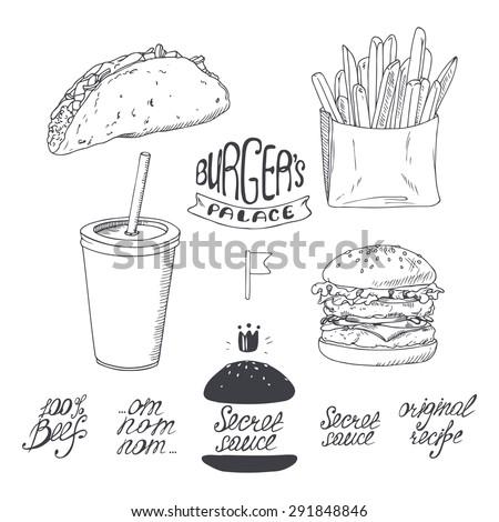 Sketched fast food set in black and white. Hand drawn vector illustration for restaurants, cafe, diner menu design - stock vector