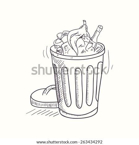 Sketched full trash bin desktop icon. Doodle design element in vector - stock vector