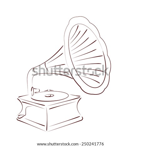 Sketched gramophone talking machine isolated on white background. Design template for label, banner, postcard. Party invitation. Gramophone vector illustration. - stock vector