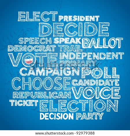 Sketched hand drawn election text design background - stock vector