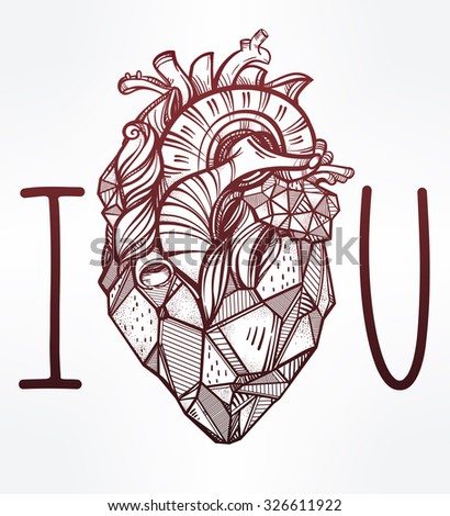 Sketched hand drawn line art ornate decorative human heart. Vintage style. Beautiful tattoo template. Isolated vector illustration. Tattoo artist design element. T-shirt print. I Love You. - stock vector
