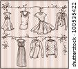 sketched ladies wardrobe - stock vector