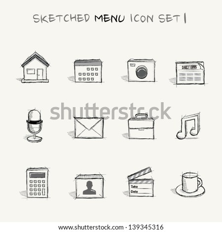 Sketched menu icon set 1 - stock vector