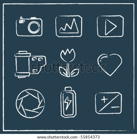 sketched photo icons - stock vector