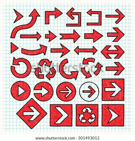 Sketched Red Arrows Set with Black Outlines