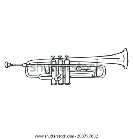 Sketched trumpet illustration - stock vector