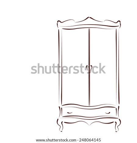 Sketched Vintage Wardrobe Closet Isolated On Stock Vector ...