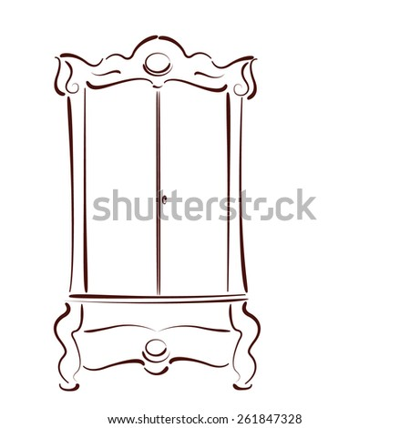 Wardrobe clipart black and white  Sketched Vintage Wardrobe Isolated On White Stock Vector 261847328 ...