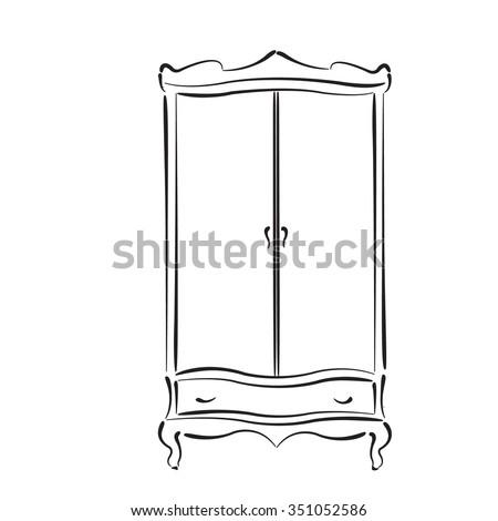 Sketched vintage wardrobe. Vintage closet vector illustration. - stock vector