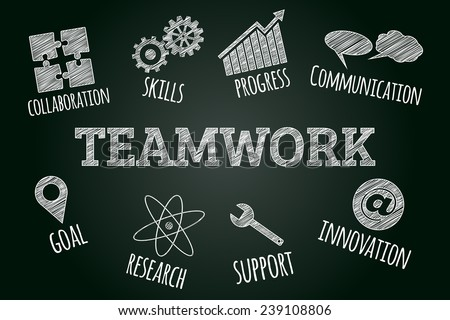 Sketched word cloud of teamwork related icons and words, business concept on blackboard - stock vector