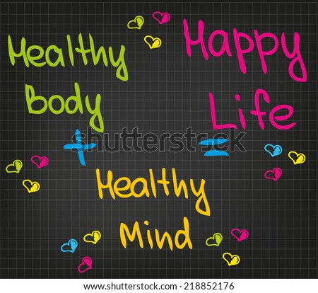 Sketched words of happy life - stock vector