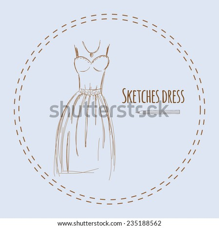 Sketches blue dress hand drawn vector illustration.
