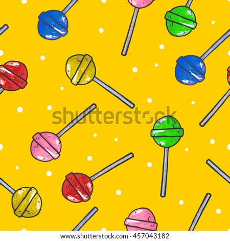 Sketches lollipop seamless pattern. Sweet candies vector illustration - stock vector