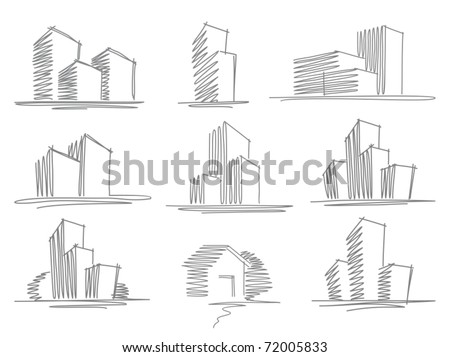 Sketches of buildings - stock vector