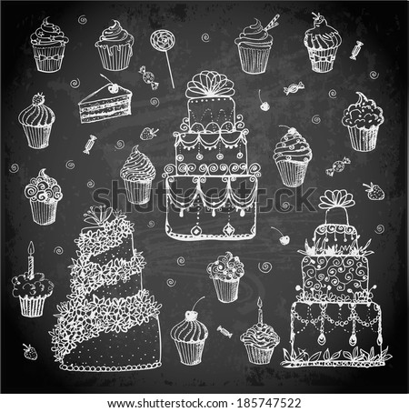 Sketches of cakes and cupcakes hand-drawn with chalks on blackboard. Vector illustration.  - stock vector