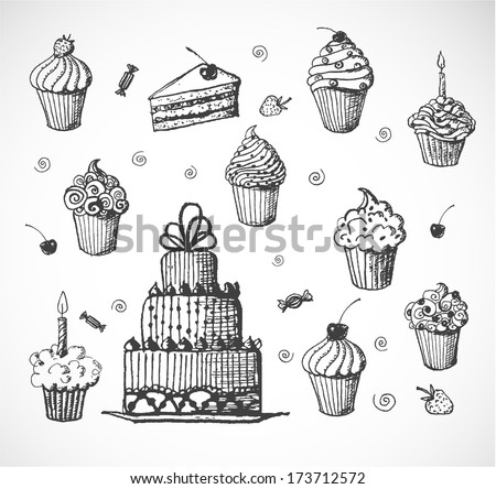 Sketches of cakes and cupcakes isolated on white. Vector illustration.  - stock vector