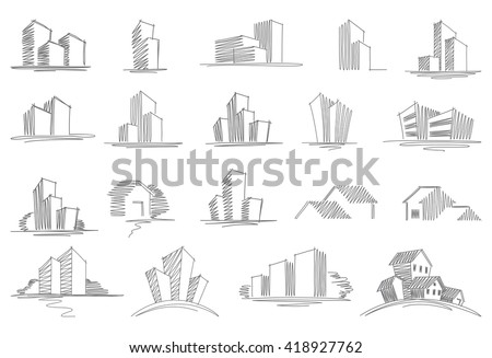 Sketches of city and rural buildings. Vector illustration