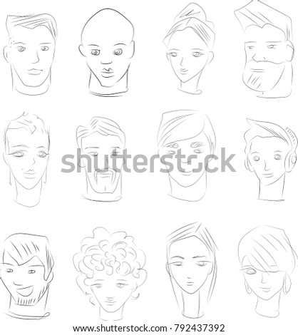 sketches human faces stock vector 792437392 shutterstock