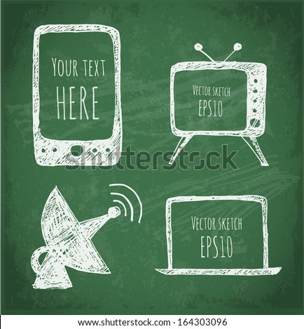 Sketches of mobile phone, TV set, antenna and notebook. Hand-drawn on green chalkboard. Vector illustration.  - stock vector
