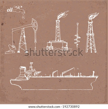 Sketches of oil rigs, offshore drilling platform and oil tanker ship on brown paper. Vector illustration.  - stock vector