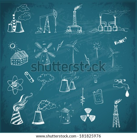 Sketches of oil rigs, oil platforms, thermal energy station and other sources of energy on blackboard. Vector sketch illustration.  - stock vector