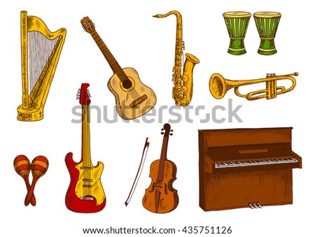 Sketches of saxophone, trumpet, acoustic and electric guitars, violin, piano and harp, african drums and mexican maracas. Ethnic and classic musical instruments for music and entertainment - stock vector