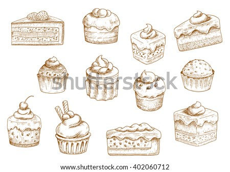Sketches of scrumptious cupcakes and muffins in thin paper cups, berry pie and chocolate tiered cake, decorated by butter cream, fresh strawberries and cherries, chocolate drops and wafer tubes