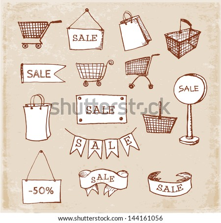 Sketches of shopping objects hand drawn in vintage style. Vector illustration. - stock vector