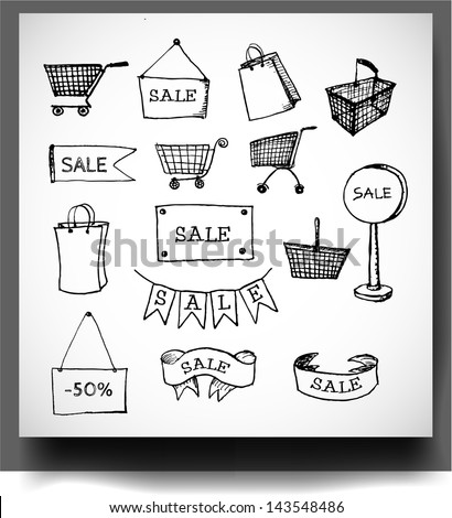 Sketches of shopping objects. Vector illustration. - stock vector