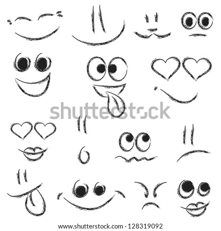 sketches of smiley faces - stock vector