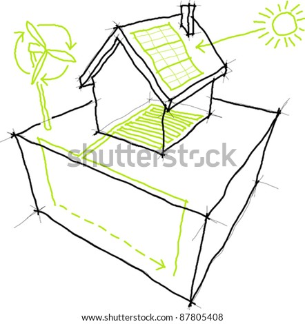 Sketches of sources of renewable energy (wind turbine, solar/photovoltaic panel, heat/thermal pump) over a simple house drawing - stock vector