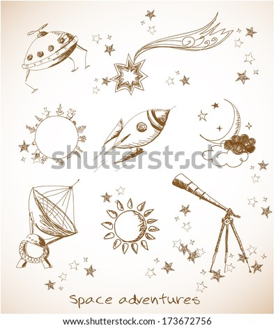 Sketches of space objects: the Sun, the Moon, stars, rocket, Saturn planet in vintage style. Vector illustration.  - stock vector