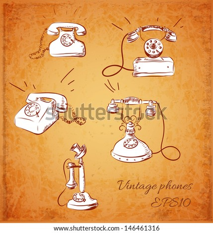 Sketches of vintage phones. Vector illustration.
