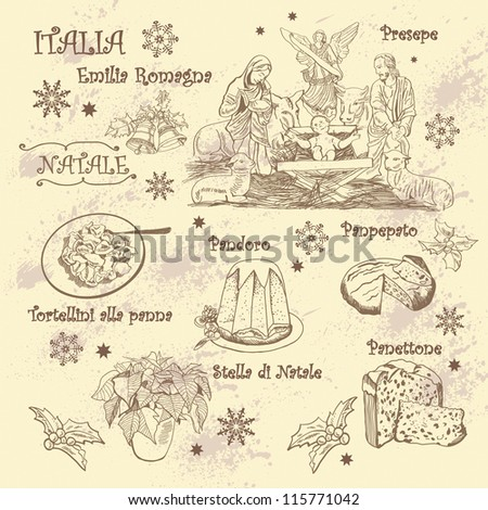 sketches on theme of Christmas in Italy - stock vector