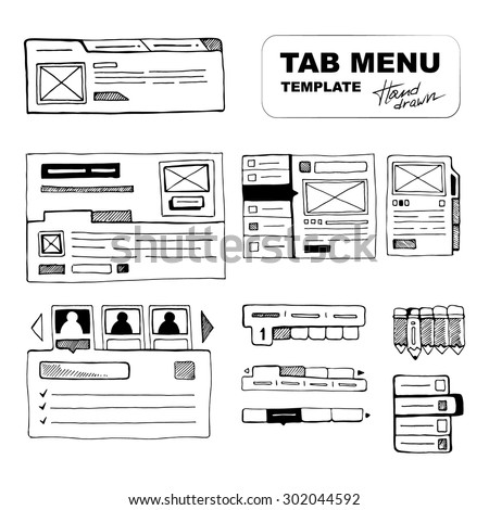 Sketching big wireframe websites menus for web developers - stock vector
